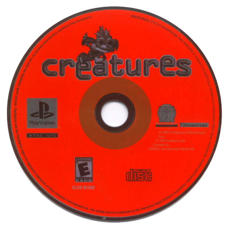 Creatures PS1 NTSC disc (Click to enlarge)